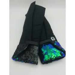 2 Sous-bandes Noires avec Sequins Verts et Bleus